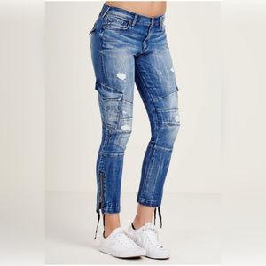 True Religion Halle Super Skinny Cargo Moto Jeans